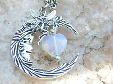 Fairy Moon Necklace, Glowing Moonstone Heart Pendant Celestial 925 Silver Chain