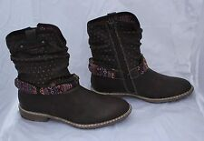 Ladies S. Oliver Dark Brown Ankle Boots with Aztec Style Decoration Size 6.5/40