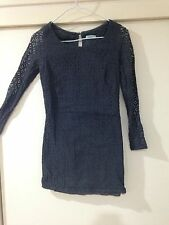 Kookai Ladies Grey Floral Lace Look Dress Size 6 In Good Condition