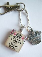 KEEP CALM and DRINK WINE diamante crown keyring/bag charm by dandan designs