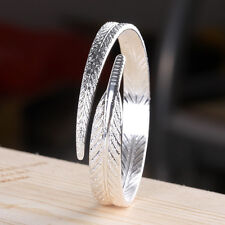 New Fashion Jewelry Women's Silver Plated Feather Open Cuff Bangle Bracelet