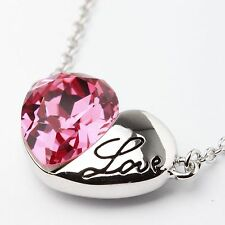 Pink Austrian Crystal Love Heart Necklace Pendant White GOLD PLATED From UK Box