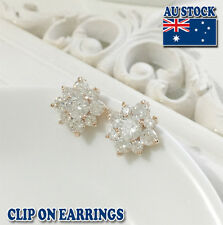 18CT Gold Plated Clip On Earrings With Clear SWAROVSKI Crystal Flower