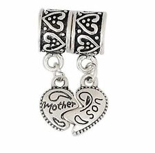 Silver Mother Son Two Piece Heart Pendant Charms Bead For Charm Bracelets