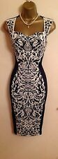 Illusion Lipsy Inspired Fitted Bodycon Navy Floral Evening Party Dress M 8 - 10