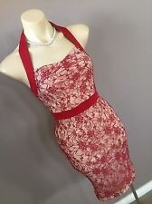 Ladies Vintage Red Wiggle Halter Neck Cocktail Pinup Lace Dress Size 6 Xs