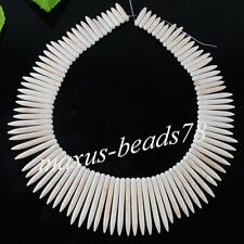 White Howlite Turquoise Graduated Stick Spike Choker Necklace Beads 16'' MH208