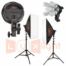 Softbox Continuous Lighting Kit - 1500w - LuxLight - 5 Bulb Double Head Pro Set