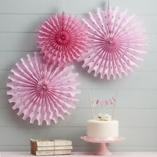 Pink Fans, Pack of 3 Hanging Tissue Paper Fan Decorations Wedding/Birthday/Party