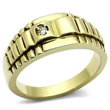 GIFTS FOR MEN Size 13 Z Stainless Steel Gold Plated Ribbed Pattern with CZ Ring
