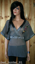 Vila Transparent Ladies Grey Shirt Blouse 38/10/M Elegant Kimono Flowers 72/8