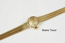 Klassische Tissot Damenuhr mit facettiertem Glas, Gold 585, Gewicht 23,7 Gramm