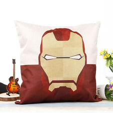 "18"" Super Hero Cushion Cover Ironman Pillow Case Cotton Linen Sofa Home Decor"
