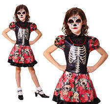 Childrens Day Of The Dead Girl Fancy Dress Costume Halloween Girls Outfit M