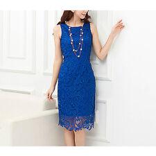 Royal Blue Sleeveless Lace Party / Race Dress Size 16
