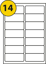 14 labels per sheet x 100 sheets Self Adhesive Works with L7163