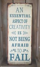 Metal Wall Plaque Shabby Vintage Chic Tin Creativity Motto Sign Ideal Xmas Gift