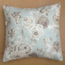 """NEW 16"""" Shabby Duck Egg Blue & Cream Rose Floral Vintage Chic Cushion Cover"""