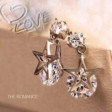 Charm Women Silver Plated Ear Stud Hook Star Crystal Rhinestone Earring Jewelry