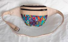 NEW FAIR TRADE LEATHER & COTTON PSYCHEDELIC CANDY SKULL HIPPY BOHO BELT BUM BAG
