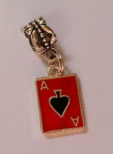 Ace of Spades Card Red Enamel Charm to fit European Charm Bracelet or Necklace