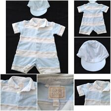 Emile et Rose - Baby Boy - Blue & White Striped Footless Babygrow & Cap -1 Month