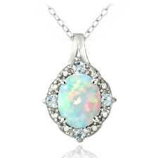 925 Silver Diamond Accent Created White Opal & Blue Topaz Oval Necklace
