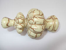 SALE Pair of Shaped Cream Crackle Finials for curtain poles 28mm - Free P+P! UCC