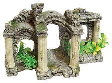Roman Pavilion & Plants Ancient Ruin Aquarium Ornament Fish Tank Decoration
