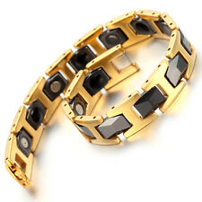 "Tungsten Magnetic Hematite Mens Bracelet, Gold, Black 8.2"" B1375"