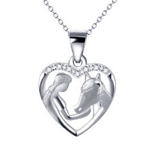 925 Sterling Silver Girl and Horse Head Heart Pendant Crystal CZ Love Necklace
