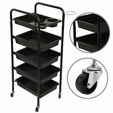 Adjustable 5 Drawers Trolley Storage Salon Hairdresser Spa Beauty Coloring Cart