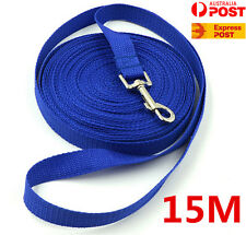 Blue 50ft/15m Long Dog Pet Puppy Leash Obedience Recall Training Lead Leash Rope