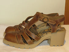 FLY LONDON 'COUP' TAN LEATHER T-BAR SANDALS SHOES UK 6 EUR 39 RRP £90 WORN ONCE