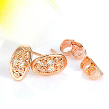 Womens Rose Gold Plated Clear Cubic Zirconia Stud Earrings Party Girls