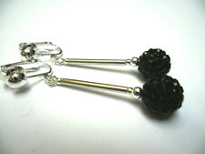 A PAIR OF DANGLY BLACK SHAMBALLA STYLE  SILVER PLATED CLIP ON EARRINGS.
