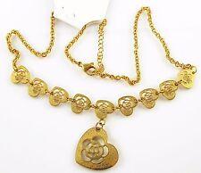 Collier Edelstahl Herz Anhänger Gold Vergoldet Kette Design durchbrochen 45cm