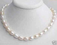 """Real Natural Pearls Beautiful 7-8mm White Freshwater Pearl Rice Necklace 18"""""""