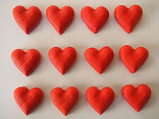 24 x Gorgeous 3D hearts CUPCAKE TOPPERS edible fondant cake decorations BIRTHDAY