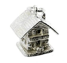 STERLING SILVER LARGE OPENING SWISS SKI LODGE/CHALET CHARM