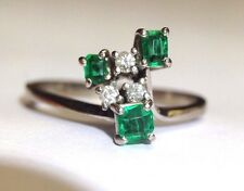 Star Burst! 18K White Gold Deep Vivid Green Colombian Emerald Diamond Ring