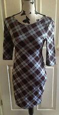 NEW LOOK Chequered Tartan Knee Length Bodycon Dress Size 14 NWOT School