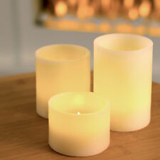Set of 3 Flameless Battery Operated LED Vanilla Scented Church Candles Lights