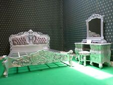 """BESPOKE Silver Double Size 4'6""""  French mahogany Rococo Bed set with dresser"""