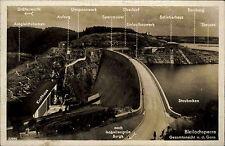 Saalburg-Ebersdorf Bleilochsperre Technik-Angaben ~1935 alte AK Thüringen