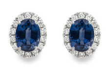 18Carat White Gold Natural Oval Blue Sapphire & Diamond Cluster Earrings