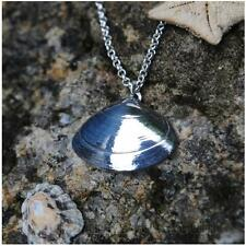 Highly Polished Pewter Clam Shell Pendant - Made in Cornwall - Gift Boxed
