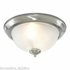 American Diner Flush Ceiling Light In Satin Chrome With Frosted Glass Shade