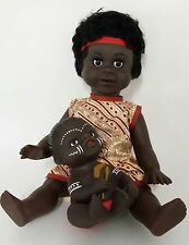 """Australian Aboriginal Doll Girl Yellow Dress 35cm or 13"""" and Baby 15cm or 6"""""""