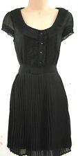 SIZE 12 40'S WW2 LANDGIRL VINTAGE STYLE BLACK TEA DRESS PLEATED # EU 40 US 8